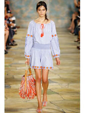 Tory Burch Madison Embroidered Cotton Tunic $325 Blue Stripe 4 Runway NWT 2016 S