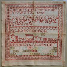 1903 ANTIQUE RED ALPHABET SAMPLER CROSS STITCH  DUTCH SCHOOLGIRL NEEDLEWORK