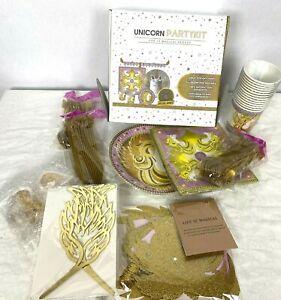 Unicorn Party Kit Supplies Birthday Set Serves 14 Plates Cups Napkins Banner