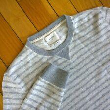 BILLY REID Mens Striped Wool Cotton Crew Neck Pullover Sweater Sweatshirt L Grey
