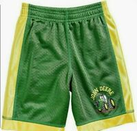 John Deere Boys Green w/Yellow Stripe Basketball Shorts JD Tractor on Leg NWOT