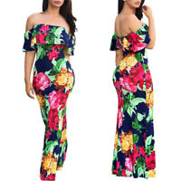 Womens Floral Long Maxi Off Shoulder Dress Evening Party Summer Beach Sundress