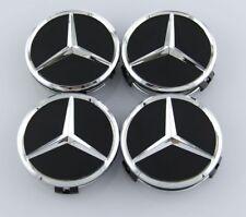 4 PCS Mercedes Benz Black 75mm Wheel Center Hub Caps Cover Badge Emblem