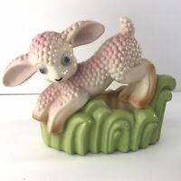 Vintage Pink Lamb Ceramic Planter Figurine Kitschy Cute Baby Nursery Japan