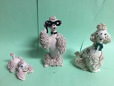 SET OF 3 Pink & Ivory RELCO/THAMES  Spaghetti Poodle Figurines- see description
