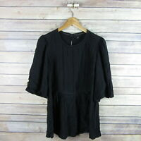 ANN TAYLOR Women's Puff Short Sleeve Tie Boho Blouse S Small Black