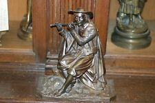 ORIGINAL PERIOD FRENCH PATINATED BRONZE STATUE FIGURINE MUSICIAN FLUTE C.1880
