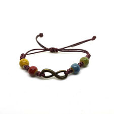 Infinity Charm & Colourful Ceramic Beads Bracelet Wrist Band Adjustable FREEPOST