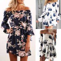 Summer Women Vintage Boho Short Mini Evening Party Dress Floral Beach Sundress