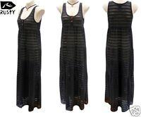 New Rusty Net Beach Maxi Dress White Black Long Surf Summer Size AU 10 12 RRP$90