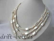 65'' 6MM White Round Rectangle Freshwater Pearl Necklace
