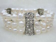 "3rows  freshwater pearl white baroque bracelet 7.5"" wholesale nature amazing 4"