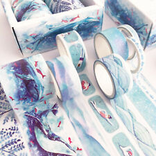 Set of 8 Blue Whale Swimmer Sea Waves Leaf Watercolour Washi Tape - Paper Craft