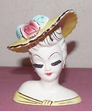 Vintage Lefton Lady Head Vase - Yellow