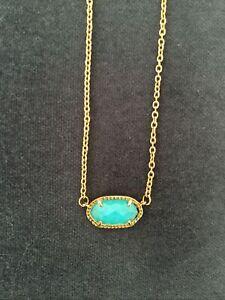 KENDRA SCOTT Designer Necklace Turquoise Blue Colour Gem Stone Gold Chain