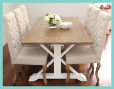 **IN STOCK** NEW Hamptons Style Solid Oak Top Dining Table