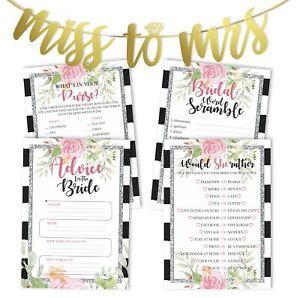 Inkdotpot Floral Bridal Shower Games Set Of 4(50 Sheets Each) w-Z1o