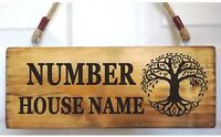 Personalised House Sign Tree of Life Custom Outdoor Wooden Name Plate Plaque
