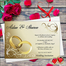 10 Personalised Gold Rings Wedding Day Invitations Day & Evening N8*