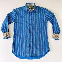 Robert Graham Mens Blue Tribal Stripe Flip Cuff Button Up Shirt Medium 36F