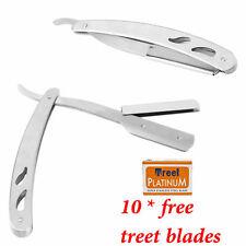 AUSTODEX Folding Shaving Razor Straight Barber Edge Steel Razors +10 pcs blades