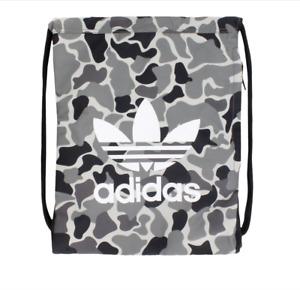 adidas Originals Drawstring Bag Black Camouflage Authentic Trefoil Lighweight