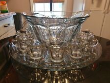 Uber RARE Antique 12 Cup Punch Bowl on Platter & Ladle.Footed Cups. All Original