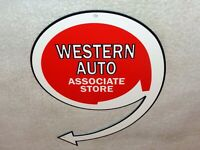 "VINTAGE ""WESTERN AUTO ASSOCIATE STORE"" 12"" METAL CAR PARTS, GASOLINE & OIL SIGN!"