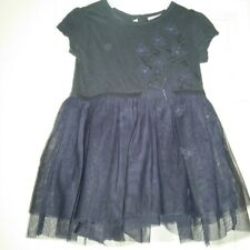 """Girls """"Next"""" Navy Blue Butterfly/Sequin Netted Party Dress Age 6-9 months"""