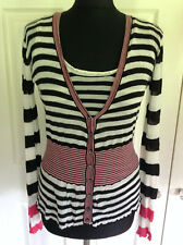 WHISTLES black white & pink stripe fine knit top & cardigan twinset S 1 UK Small