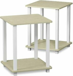 End Table Set of Two White Faux Marble Modern Design Living Room Family Area Pk