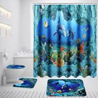 US Undersea Deep Sea Dolphin Shower Curtain Anti-slip Bathroom Toliet Floor Mat