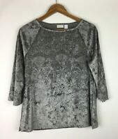 Chicos Women's Size 1 Blouse Top Crushed Velvet Embossed Damask Stretch