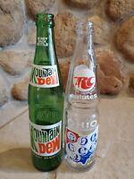 Vintage Lot of 2, 16 OZ glass bottles, RC Royal Crown Salutes Ohio, Mountain Dew