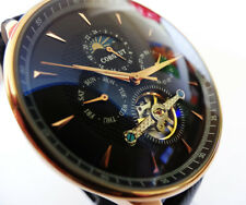 Elegant Automatic Rose Gold Black 47mm Tourbillon Moon Phase Vintage Style Watch