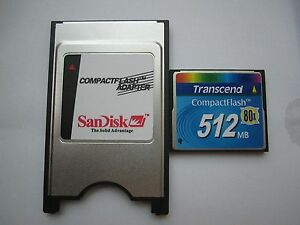 Transcend 512MB 80X Compact Flash +ATA PC card PCMCIA Adapter JANOME Machines