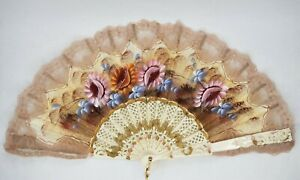 Hand Fan White & Lace Flowers - Pink & Gold Trim Vintage
