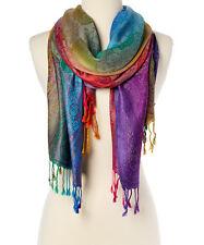 Women Long Rainbow Paisley Silk Blend Pashmina Scarf Wrap Shawl Plaid Cozy Gift