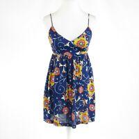 Navy blue orange floral print 100% silk NIEVES LAVI spaghetti strap sun dress 4