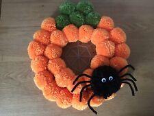 Halloween Pumpkin Pompom Door Wreath