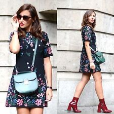 ZARA BLACK EMBROIDERED FLORAL MINI DRESS REF.4786/245 BLOGGERS  L LARGE