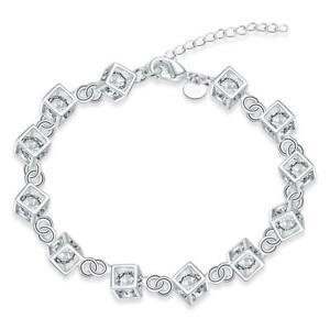 925 Sterling Silver Cube Bracelet Chain Link Sparkly Crystal Uk Seller