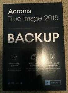 Brand New Acronis True Image 2018 PC Mac (3 Devices)-Sealed Retail BOX (NIB)