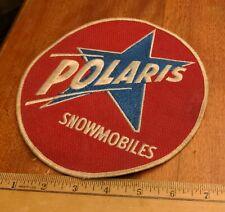 "VINTAGE POLARIS SNOWMBILE EMBROIDERED PATCH 7.5"" DIAM. RED, WHITE & BLUE, UNUSED"