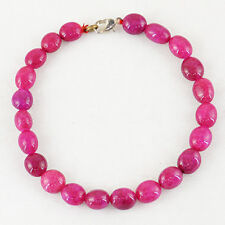 Amazing 92.00 Cts Earth Mined Rich Red Ruby Oval Shape Beads Hand Made Bracelet