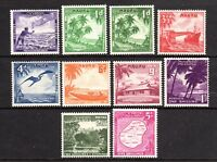 AUST. TERR. 1954 NAURU - SET of 10 - 1/2d to 5/ - Incl 2x 1d GREEN SHADES - MINT