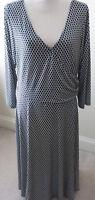 London Times Woman Black White Print Dress Plus Size 18W Faux Wrap V Neck