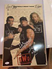 NWO Theme Sheet Music Signed By Hogan, Hall, Nash JSA
