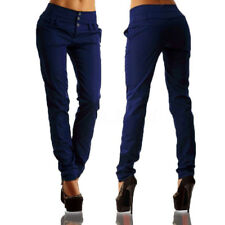 UK STOCK Women High Waist Buttons Office OL Ladies Long Pants Trousers Leggings