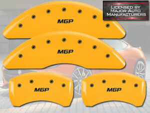 "2009-2017 Chevy Traverse Front + Rear Yellow ""MGP"" Brake Disc Caliper Covers 4pc"